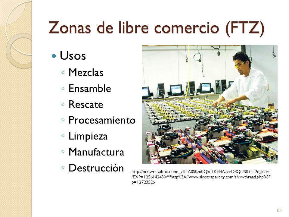 Zonas de libre comercio (FTZ) Usos Mezclas Ensamble Rescate Procesamiento Limpieza Manufactura Destrucción 86 http://mx.wrs.yahoo.com/_ylt=A0S0zu0Q5d1