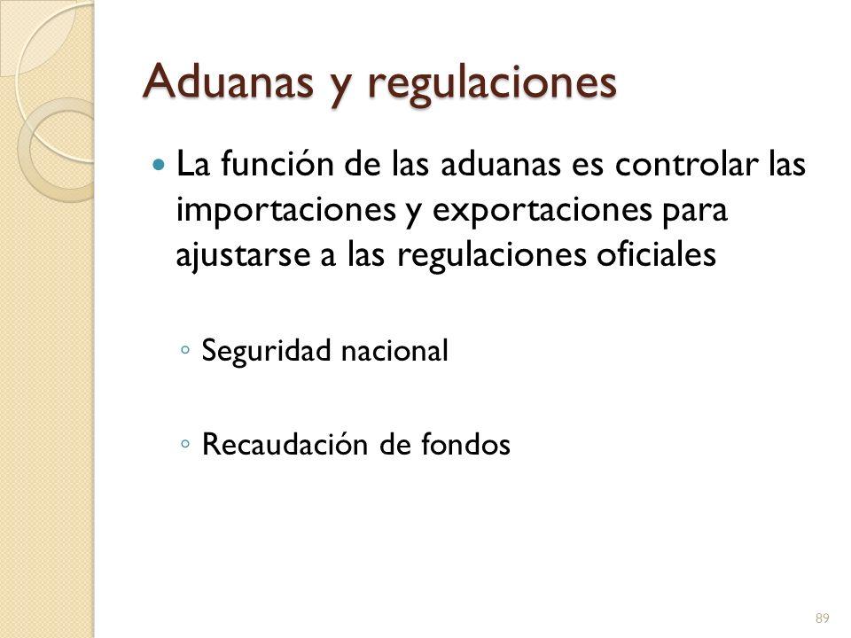 Aduanas y regulaciones La función de las aduanas es controlar las importaciones y exportaciones para ajustarse a las regulaciones oficiales Seguridad