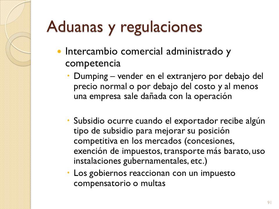Aduanas y regulaciones Intercambio comercial administrado y competencia Dumping – vender en el extranjero por debajo del precio normal o por debajo de