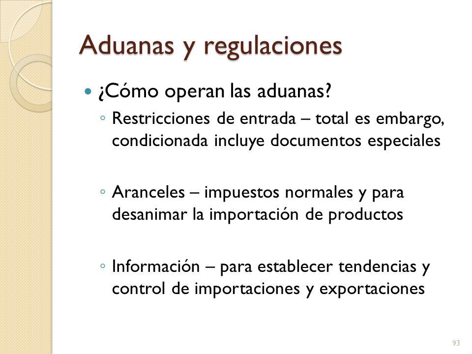 Aduanas y regulaciones ¿Cómo operan las aduanas? Restricciones de entrada – total es embargo, condicionada incluye documentos especiales Aranceles – i