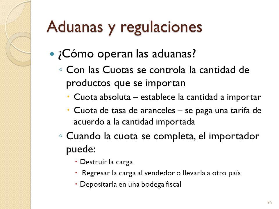 Aduanas y regulaciones ¿Cómo operan las aduanas? Con las Cuotas se controla la cantidad de productos que se importan Cuota absoluta – establece la can