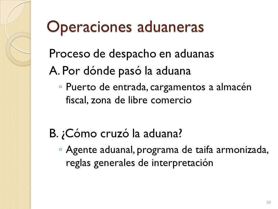 Operaciones aduaneras Proceso de despacho en aduanas A. Por dónde pasó la aduana Puerto de entrada, cargamentos a almacén fiscal, zona de libre comerc