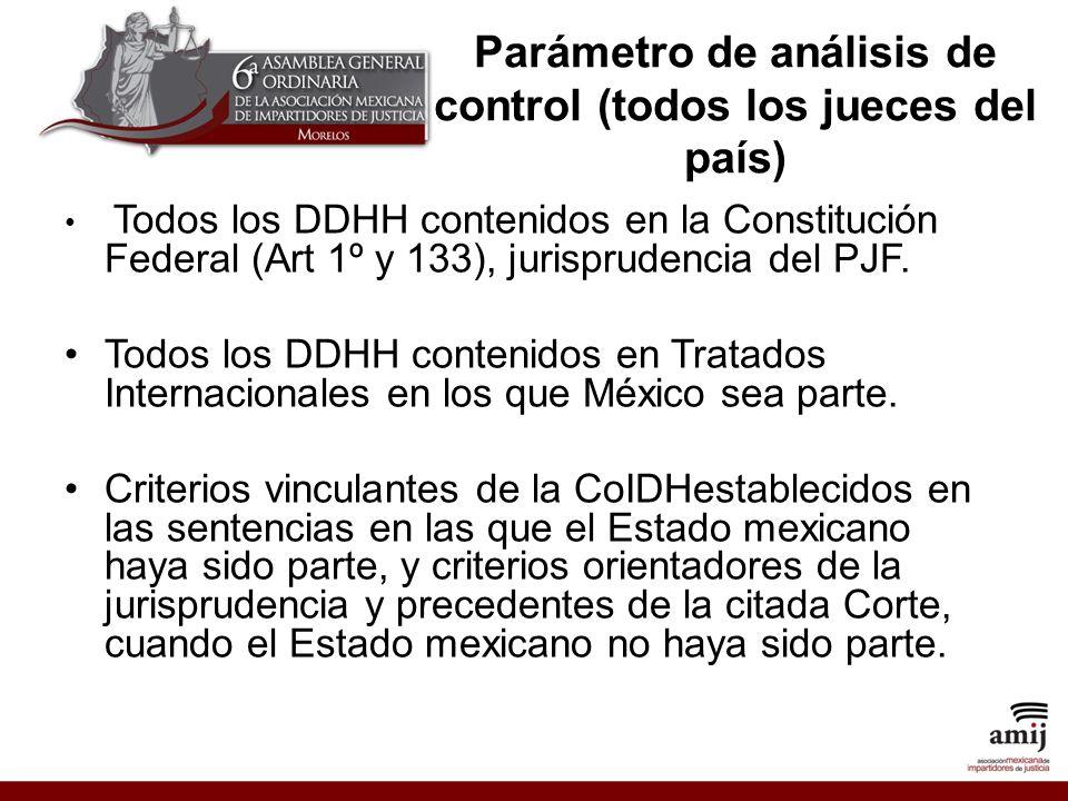 Parámetro de análisis de control (todos los jueces del país) Todos los DDHH contenidos en la Constitución Federal (Art 1º y 133), jurisprudencia del PJF.