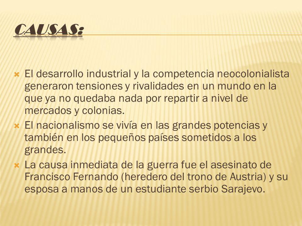 El desarrollo industrial y la competencia neocolonialista generaron tensiones y rivalidades en un mundo en la que ya no quedaba nada por repartir a nivel de mercados y colonias.