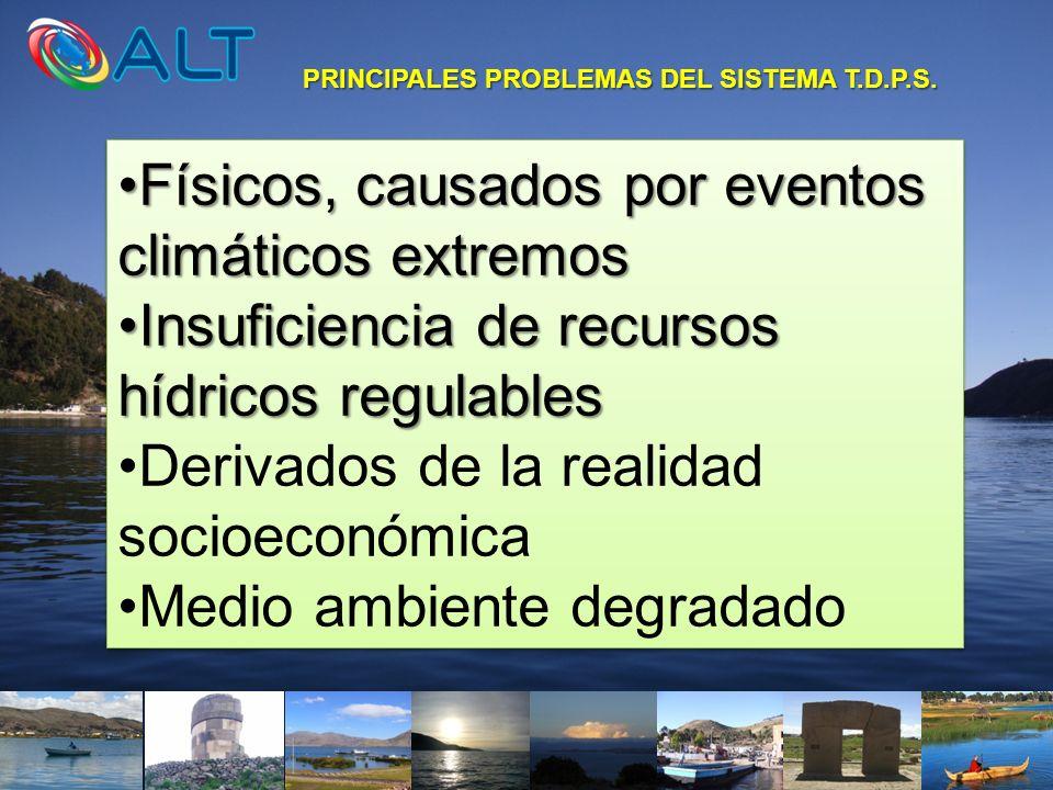 PRINCIPALES PROBLEMAS DEL SISTEMA T.D.P.S. Físicos, causados por eventos climáticos extremosFísicos, causados por eventos climáticos extremos Insufici