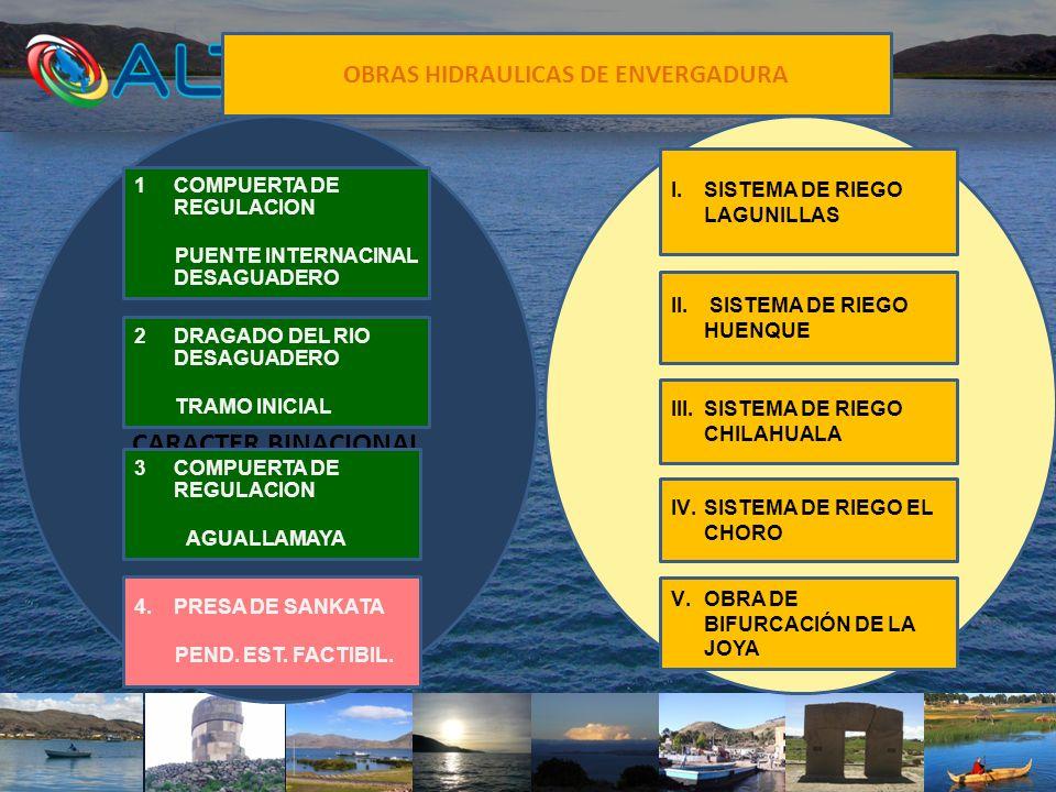 OBRAS HIDRAULICAS DE ENVERGADURA OBRAS DE REGULACION CARACTER BINACIONAL OBRAS NACIONALES IV.SISTEMA DE RIEGO EL CHORO 1COMPUERTA DE REGULACION PUENTE