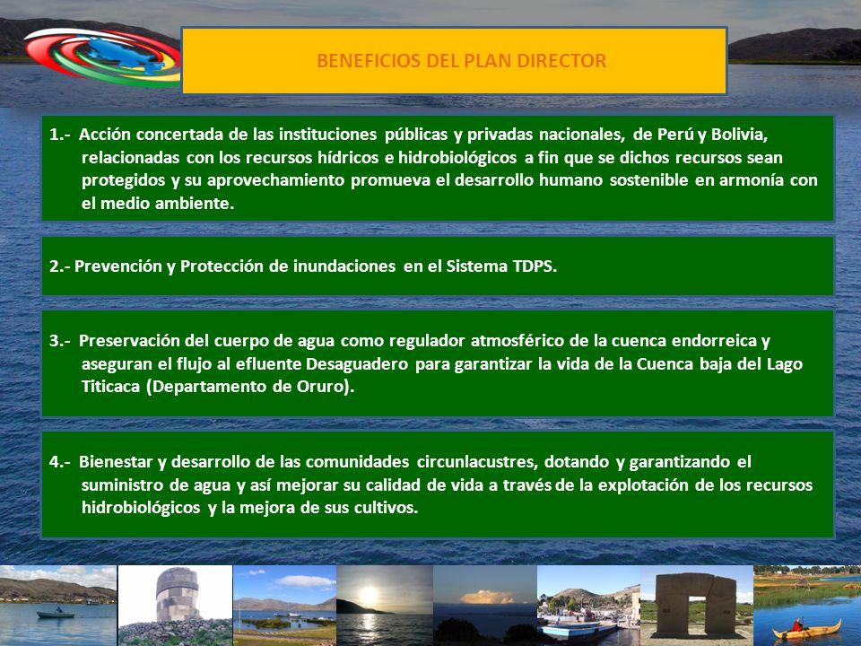 BENEFICIOS DEL PLAN DIRECTOR 1.- Acción concertada de las instituciones públicas y privadas nacionales, de Perú y Bolivia, relacionadas con los recurs