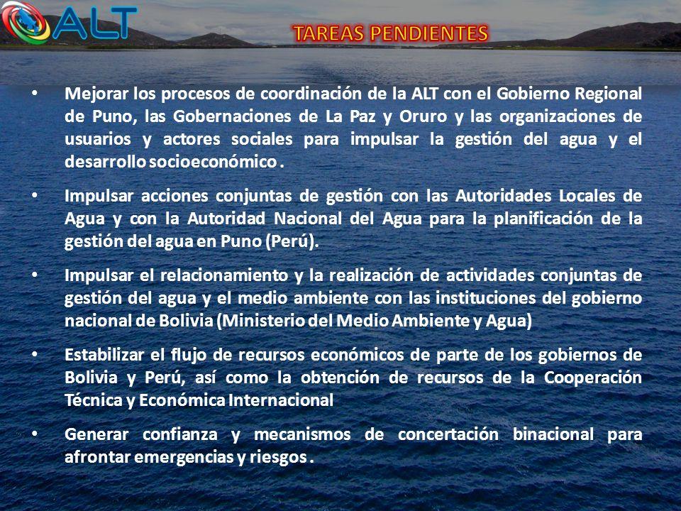 Mejorar los procesos de coordinación de la ALT con el Gobierno Regional de Puno, las Gobernaciones de La Paz y Oruro y las organizaciones de usuarios