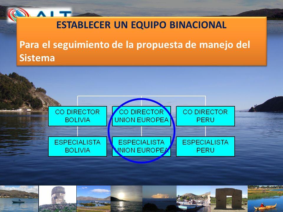 ESTABLECER UN EQUIPO BINACIONAL Para el seguimiento de la propuesta de manejo del Sistema ESTABLECER UN EQUIPO BINACIONAL Para el seguimiento de la pr