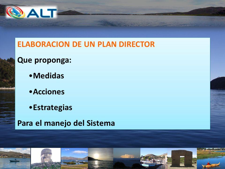 ELABORACION DE UN PLAN DIRECTOR Que proponga: Medidas Acciones Estrategias Para el manejo del Sistema ELABORACION DE UN PLAN DIRECTOR Que proponga: Me