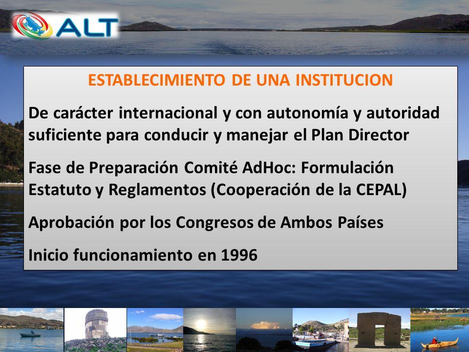 ESTABLECIMIENTO DE UNA INSTITUCION De carácter internacional y con autonomía y autoridad suficiente para conducir y manejar el Plan Director Fase de P