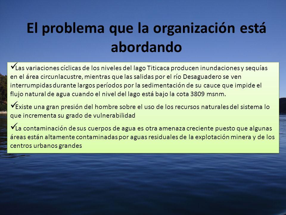 El problema que la organización está abordando Las variaciones cíclicas de los niveles del lago Titicaca producen inundaciones y sequías en el área ci