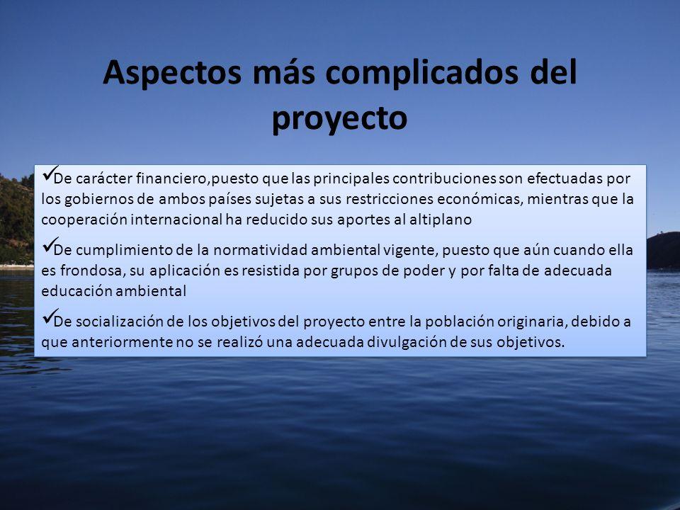 Aspectos más complicados del proyecto De carácter financiero,puesto que las principales contribuciones son efectuadas por los gobiernos de ambos paíse