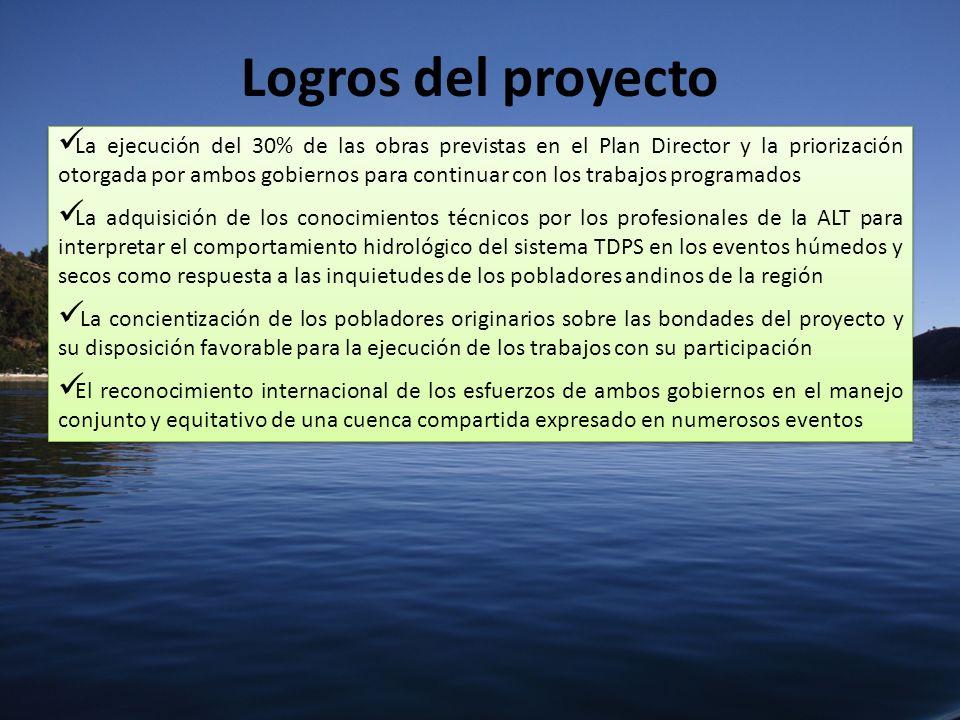 Logros del proyecto La ejecución del 30% de las obras previstas en el Plan Director y la priorización otorgada por ambos gobiernos para continuar con