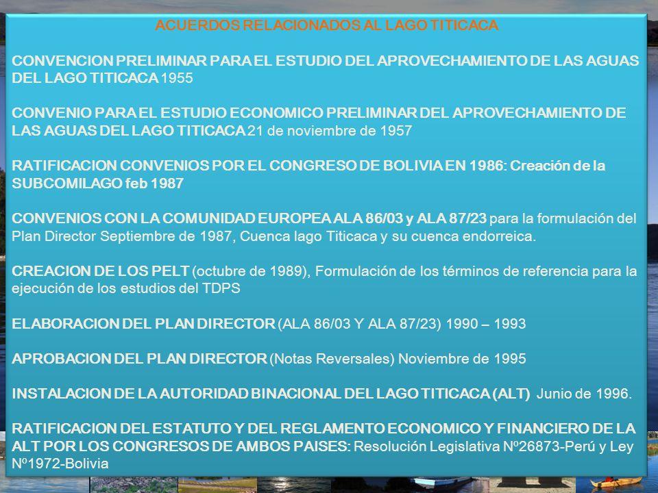 ACUERDOS RELACIONADOS AL LAGO TITICACA CONVENCION PRELIMINAR PARA EL ESTUDIO DEL APROVECHAMIENTO DE LAS AGUAS DEL LAGO TITICACA 1955 CONVENIO PARA EL