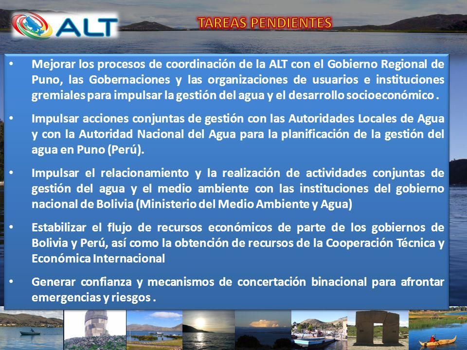 Mejorar los procesos de coordinación de la ALT con el Gobierno Regional de Puno, las Gobernaciones y las organizaciones de usuarios e instituciones gr