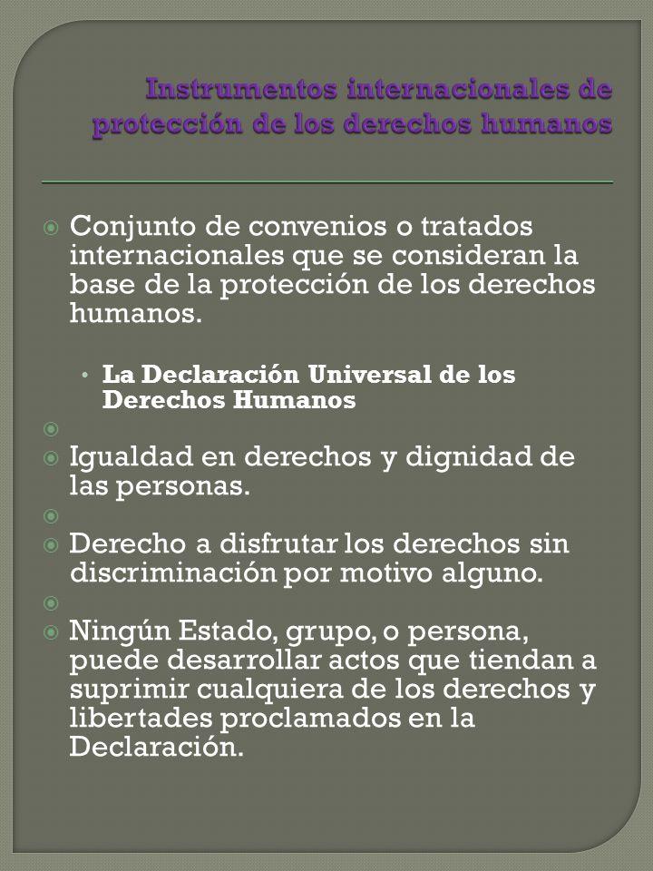 Conjunto de convenios o tratados internacionales que se consideran la base de la protección de los derechos humanos.