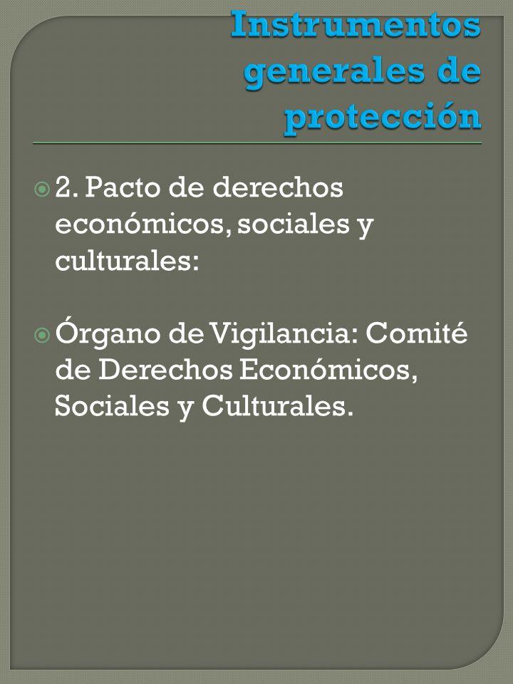 2. Pacto de derechos económicos, sociales y culturales: Órgano de Vigilancia: Comité de Derechos Económicos, Sociales y Culturales.