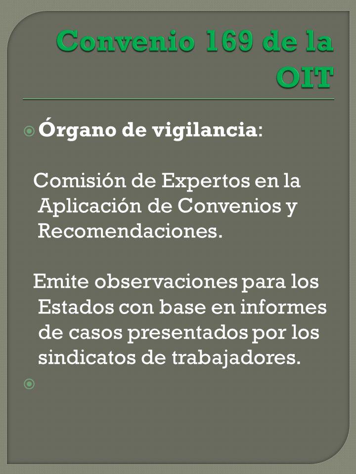 Órgano de vigilancia: Comisión de Expertos en la Aplicación de Convenios y Recomendaciones.