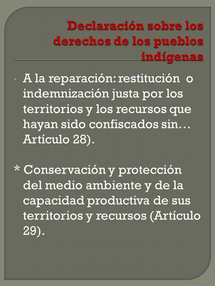 A la reparación: restitución o indemnización justa por los territorios y los recursos que hayan sido confiscados sin… Artículo 28).