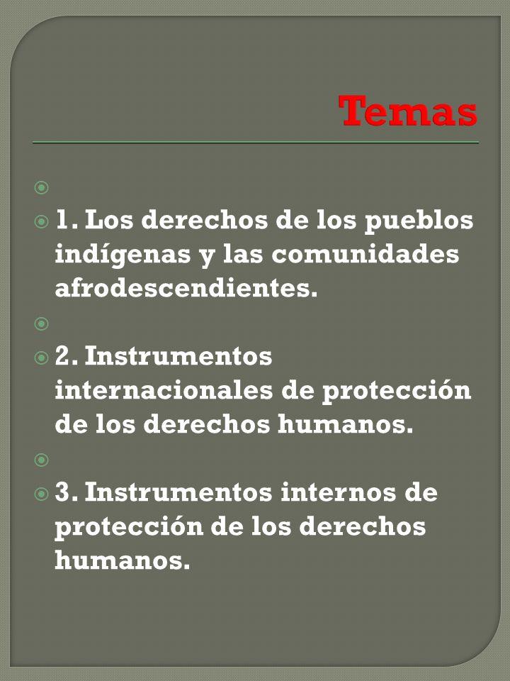 1.Los derechos de los pueblos indígenas y las comunidades afrodescendientes.