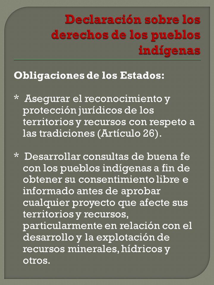 Obligaciones de los Estados: * Asegurar el reconocimiento y protección jurídicos de los territorios y recursos con respeto a las tradiciones (Artículo 26).