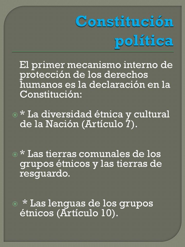 El primer mecanismo interno de protección de los derechos humanos es la declaración en la Constitución: * La diversidad étnica y cultural de la Nación (Artículo 7).
