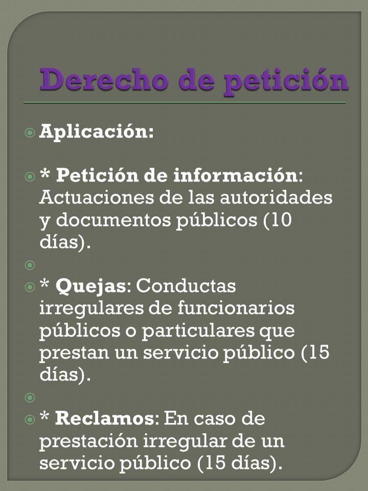Aplicación: * Petición de información: Actuaciones de las autoridades y documentos públicos (10 días).