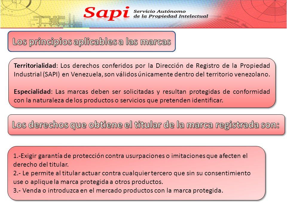 Territorialidad: Los derechos conferidos por la Dirección de Registro de la Propiedad Industrial (SAPI) en Venezuela, son válidos únicamente dentro del territorio venezolano.