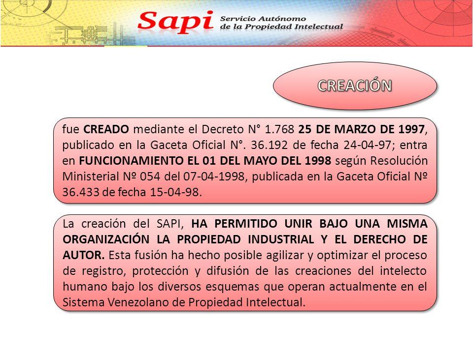 fue CREADO mediante el Decreto N° 1.768 25 DE MARZO DE 1997, publicado en la Gaceta Oficial N°.