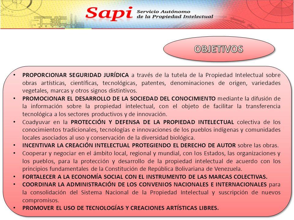 Somos una ORGANIZACIÓN PÚBLICA que BRINDA SERVICIOS asociados al REGISTRO DE PROPIEDAD INTELECTUAL MEDIANTE LA APLICACIÓN DE LA NORMATIVA LEGAL VIGENTE en la materia, en el marco de la Constitución de la República Bolivariana de Venezuela y de las líneas estratégicas del Plan de Desarrollo Económico y Social de la Nación, establecidas en el Proyecto Nacional Simón Bolívar 2007-2013; CON EL OBJETO DE CONTRIBUIR AL DESARROLLO CULTURAL, ECONÓMICO Y SOCIAL de forma sustentable de la nación.