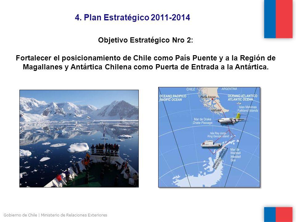 4. Plan Estratégico 2011-2014 Gobierno de Chile | Ministerio de Relaciones Exteriores Objetivo Estratégico Nro 2: Fortalecer el posicionamiento de Chi