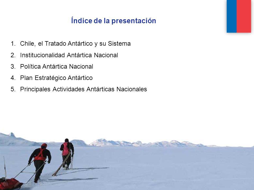 Índice de la presentación 1.Chile, el Tratado Antártico y su Sistema 2.Institucionalidad Antártica Nacional 3.Política Antártica Nacional 4.Plan Estratégico Antártico 5.Principales Actividades Antárticas Nacionales