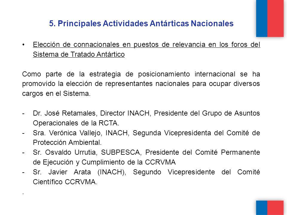 5. Principales Actividades Antárticas Nacionales Elección de connacionales en puestos de relevancia en los foros del Sistema de Tratado Antártico Como