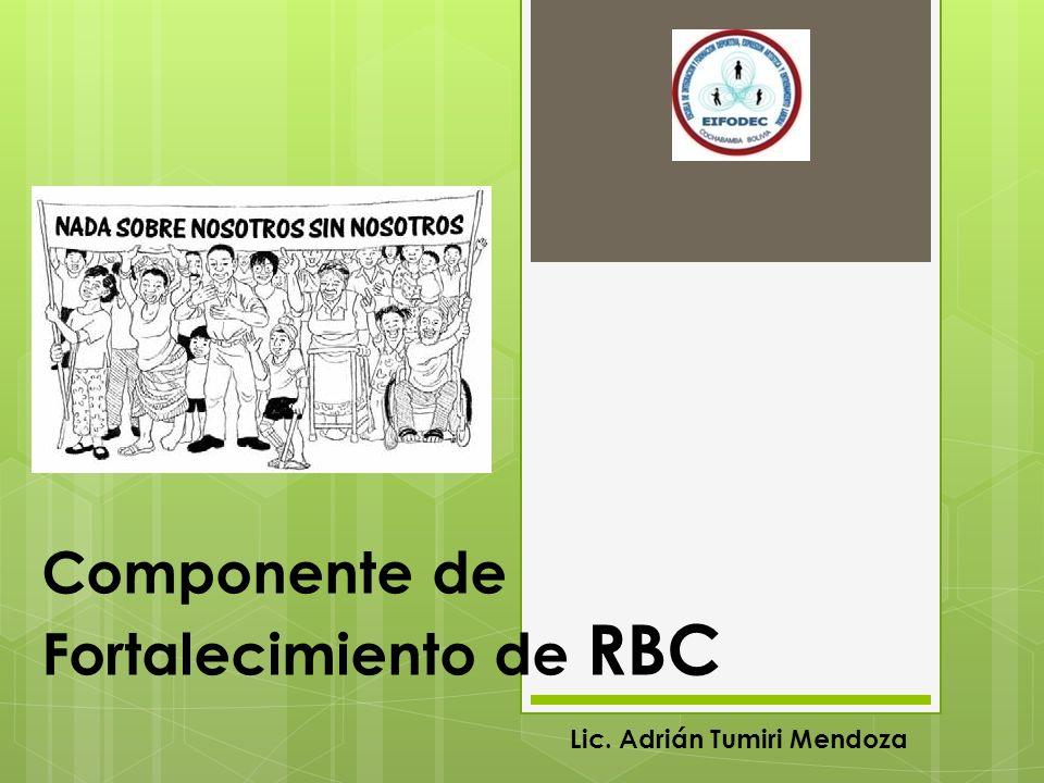 Componente de Fortalecimiento de RBC Lic. Adrián Tumiri Mendoza