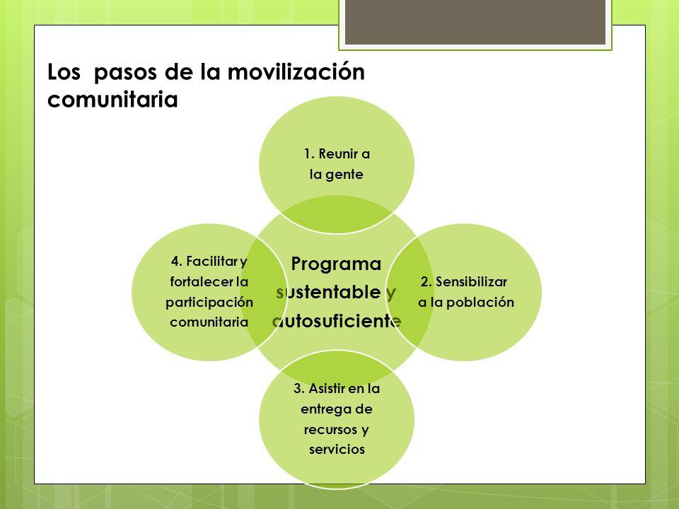 Programa sustentable y autosuficiente 1. Reunir a la gente 2. Sensibilizar a la población 3. Asistir en la entrega de recursos y servicios 4. Facilita