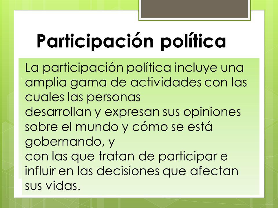 Participación política Una definición estrecha de la política se refiere a las actividades de los gobiernos, los políticos o los partidos políticos. U