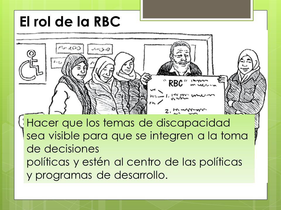 El rol de la RBC Es asegurar que PCD y sus familias tienen la información, las destrezas y los conocimientos que les permitan participar en política y