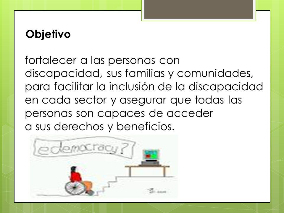 fortalecer a las personas con discapacidad, sus familias y comunidades, para facilitar la inclusión de la discapacidad en cada sector y asegurar que t