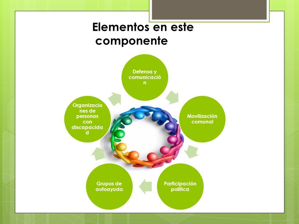 Elementos en este componente Defensa y comunicació n Movilización comunal Participación política Grupos de autoayuda Organizacio nes de personas con d