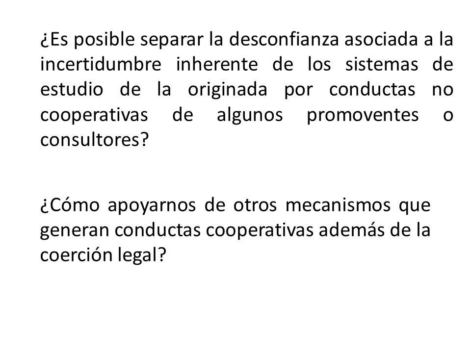 ¿Cómo apoyarnos de otros mecanismos que generan conductas cooperativas además de la coerción legal? ¿Es posible separar la desconfianza asociada a la
