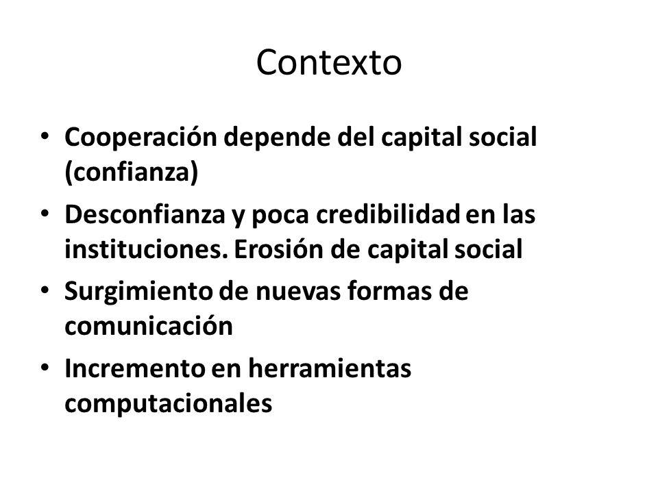 Contexto Cooperación depende del capital social (confianza) Desconfianza y poca credibilidad en las instituciones. Erosión de capital social Surgimien