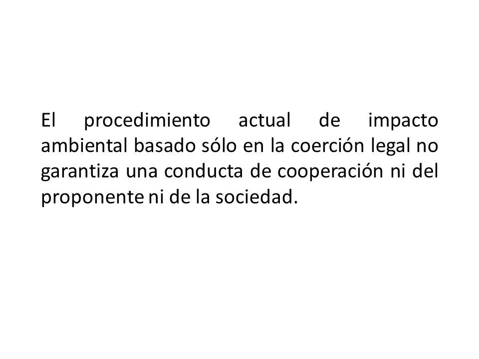 El procedimiento actual de impacto ambiental basado sólo en la coerción legal no garantiza una conducta de cooperación ni del proponente ni de la soci