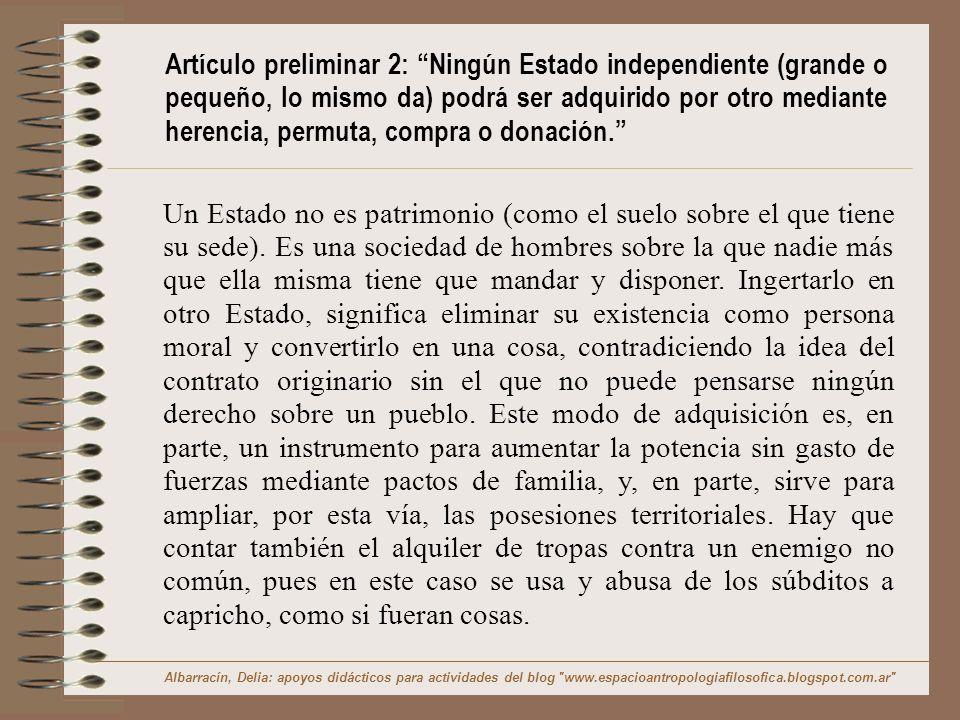 Explicación y Ejemplo de Artículo preliminar 2 En la concepción de Estado como un ente moral y no como un patrimonio se advierte las diferencias con Hobbes.