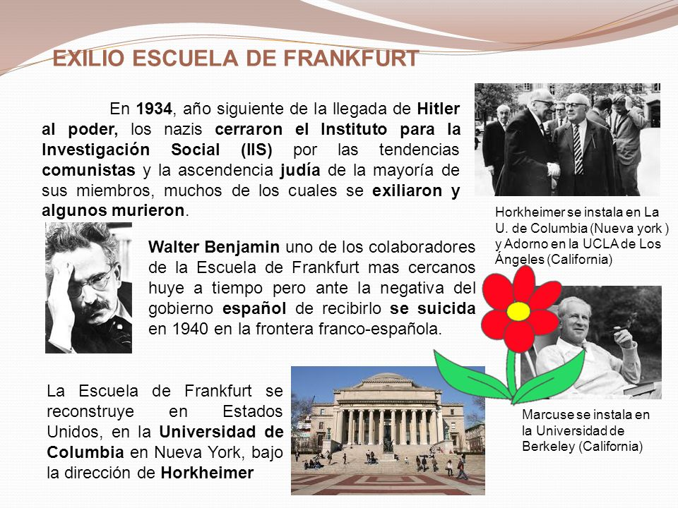 EXILIO ESCUELA DE FRANKFURT En 1934, año siguiente de la llegada de Hitler al poder, los nazis cerraron el Instituto para la Investigación Social (IIS) por las tendencias comunistas y la ascendencia judía de la mayoría de sus miembros, muchos de los cuales se exiliaron y algunos murieron.