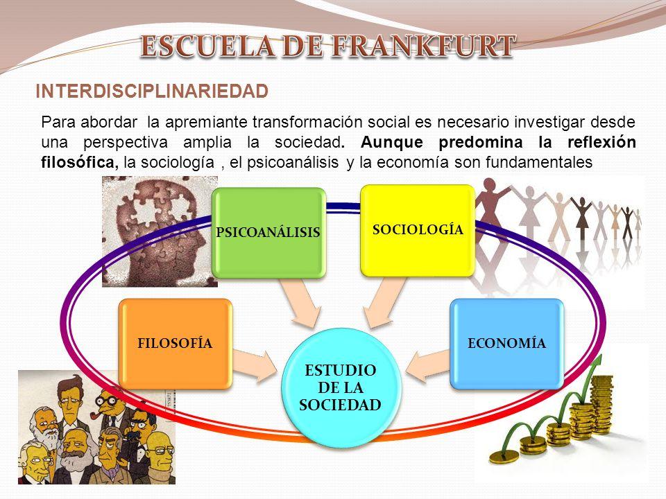 INTERDISCIPLINARIEDAD Para abordar la apremiante transformación social es necesario investigar desde una perspectiva amplia la sociedad.