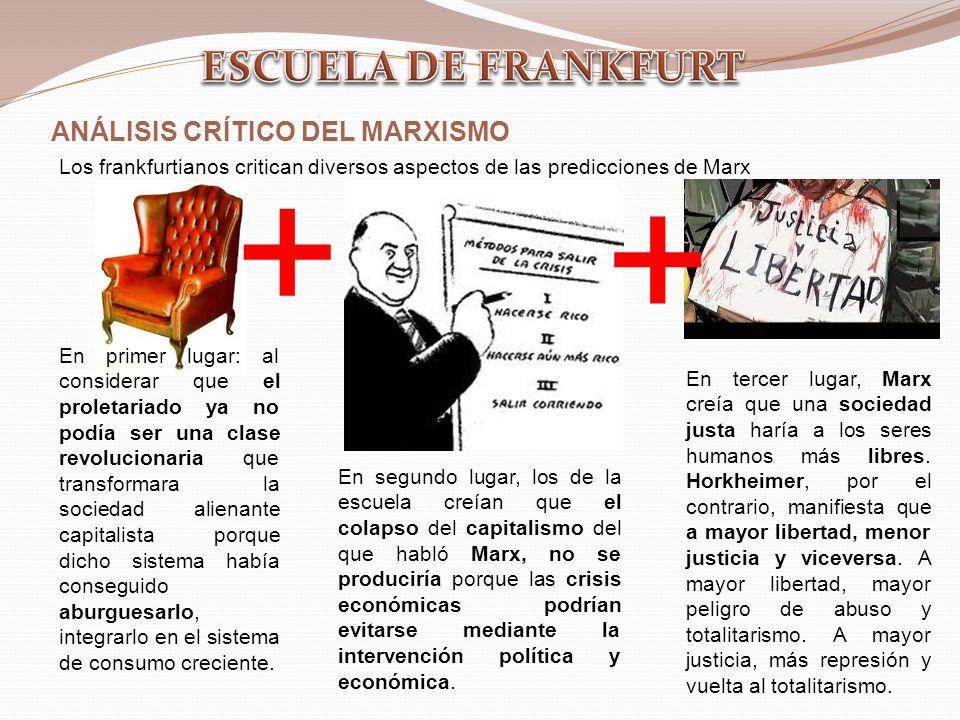 ANÁLISIS CRÍTICO DEL MARXISMO Los frankfurtianos critican diversos aspectos de las predicciones de Marx En tercer lugar, Marx creía que una sociedad justa haría a los seres humanos más libres.