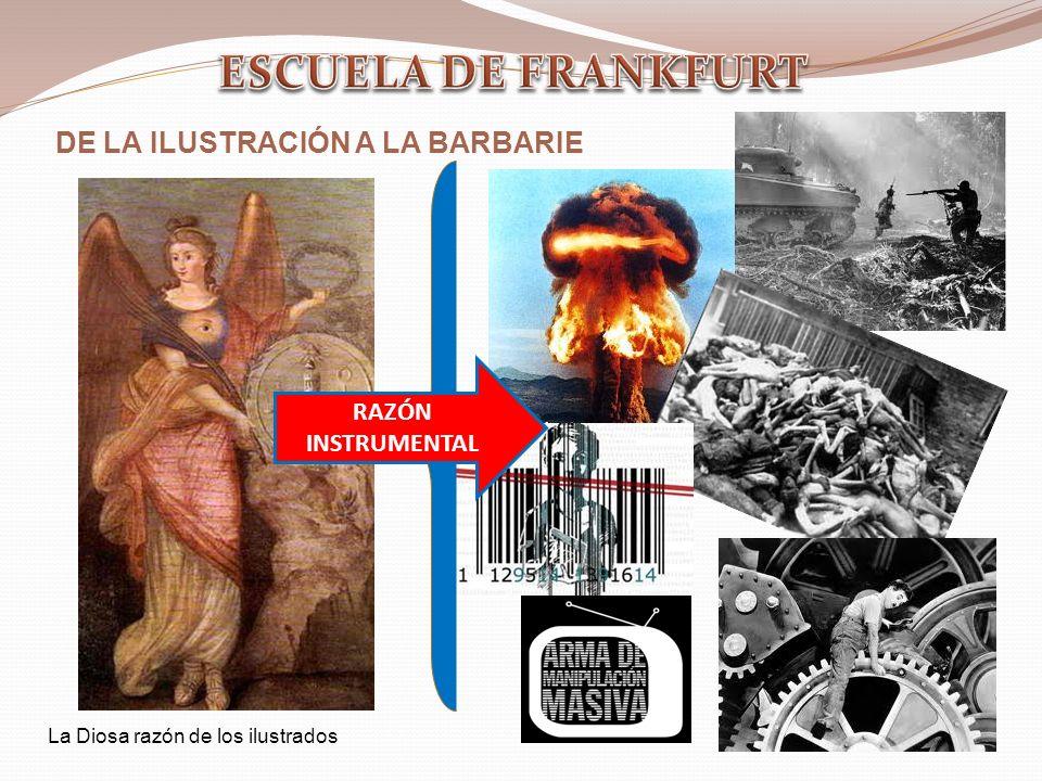 DE LA ILUSTRACIÓN A LA BARBARIE RAZÓN INSTRUMENTAL La Diosa razón de los ilustrados