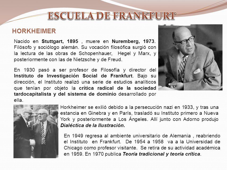HORKHEIMER Nacido en Stuttgart, 1895, muere en Nuremberg, 1973. Filósofo y sociólogo alemán. Su vocación filosófica surgió con la lectura de las obras