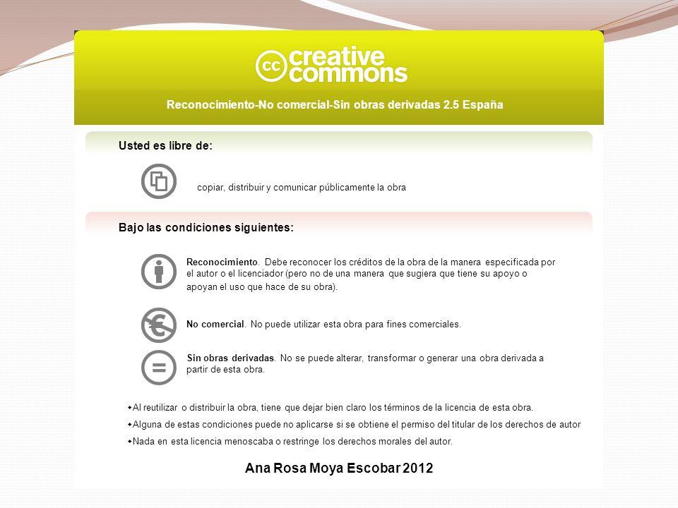Usted es libre de: copiar, distribuir y comunicar públicamente la obra Bajo las condiciones siguientes: Reconocimiento.